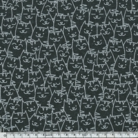 Jersey Cache-cache chat noir 20 x 140 cm