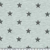 Jersey chaud menthe chiné étoiles pailletées gris 20 x 140 cm