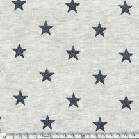 Jersey chaud gris chiné étoiles pailletées marine 20 x 140 cm