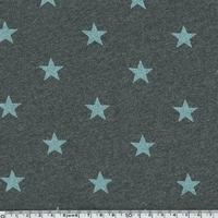 Jersey chaud gris foncé étoiles légèrement pailletées menthe 20 x 140 cm