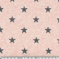 Jersey chaud rose chiné étoiles pailletées gris 20 x 140 cm