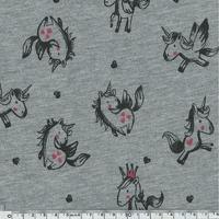 Jersey chaud licornes gris chiné 20 x 140 cm