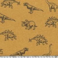Molleton dinosaures fond moutarde 20 x 140 cm