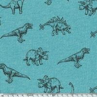Molleton dinosaures fond turquoise 20 x 140 cm