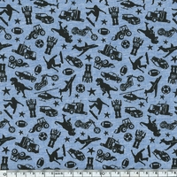 Sweat léger boys fond bleu chiné 20 x 140 cm