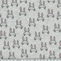 Sweat léger lapins fond gris chiné 20 x 140 cm