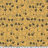 Sweat léger cache-cache panda fond moutarde chiné 20 x 140 cm
