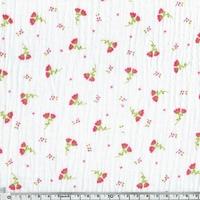Tissu double gaze de coton fleurs fond blanc 20 x 130 cm