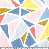 Tissu double gaze de coton imprimé géométrique 20 x 130 cm