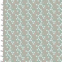DERNIER COUPON Tissu Little Ones Triangles fond menthe 1m30 x 110 cm