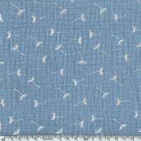 Tissu double gaze de coton pissenlits coloris gris bleu 20 x 135 cm