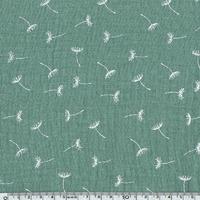 Tissu double gaze de coton pissenlits coloris vert 20 x 135 cm