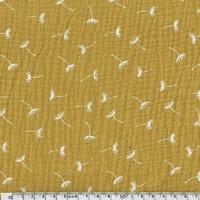 Tissu double gaze de coton pissenlits coloris moutarde 20 x 135 cm