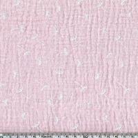 Tissu double gaze de coton pissenlits coloris rose pâle 20 x 135 cm