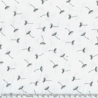 COUPON Tissu double gaze de coton pissenlits coloris blanc 90 x 135 cm