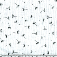 Tissu double gaze de coton pissenlits coloris blanc cassé 20 x 135 cm