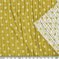 Tissu double gaze damier moutarde 20 x 135 cm