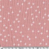Tissu double gaze petites croix fond rose 20 x 135 cm