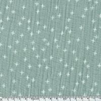 Tissu double gaze petites croix fond amande 20 x 135 cm