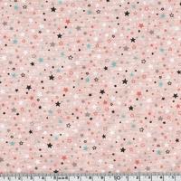 Jersey mini étoiles fond rose chiné 20 x 140 cm