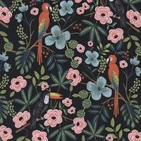Tissu Rifle Paper Ménagerie Paradise Garden Midnight 20 x 110 cm
