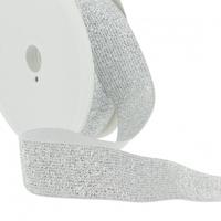 Elastique lurex 30mm argent blanc x10cm