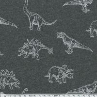 Molleton dinosaures fond gris 20 x 140 cm