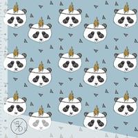 Jersey Pandas fond sky blue 20 x 160 cm