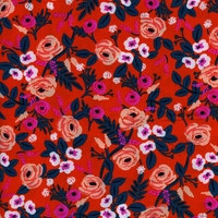 Viscose Rifle Paper Wonderland Paint Roses Orange 20 x 110 cm
