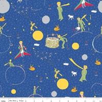 Tissu Le Petit Prince coloris bleu vif 20 x 110 cm