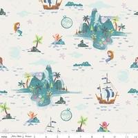 Tissu Neverland L'Ile des enfants perdus 20 x 110 cm
