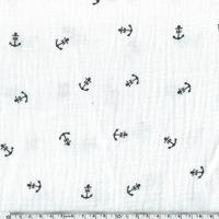 Tissu double gaze de coton ancre marine coloris blanc cassé 20 x 135 cm