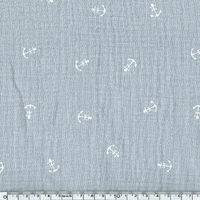 Tissu double gaze de coton ancre marine coloris gris clair 20 x 135 cm