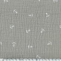 Tissu double gaze de coton ancre marine coloris taupe 20 x 135 cm