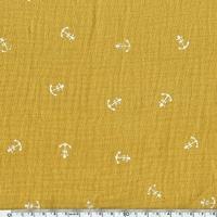 Tissu double gaze de coton ancre marine coloris moutarde 20 x 135 cm