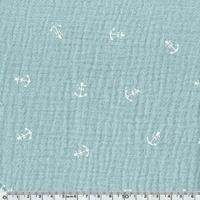 Tissu double gaze de coton ancre marine coloris mint 20 x 135 cm