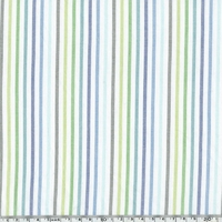 Voile de coton Stripe coloris bleu vert 20 x 140 cm