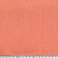 Tissu double gaze de coton unie coloris pêche 20 x 135 cm