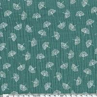 Tissu double gaze imprimée Ginkgo coloris eucalyptus 20 x 135 cm