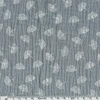 Tissu double gaze imprimée Ginkgo coloris gris 20 x 135 cm