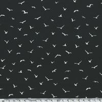 Crêpe lisse Hirondelles fond noir  20 x 140 cm