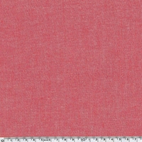 Tissu coton effet chambray rouge 20 x 140 cm