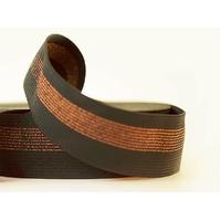 Elastique large noir rayures cuivre x10 cm