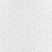 Double gaze lisse FDS fleurs argent fond blanc 20 x 140 cm