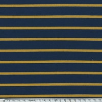 COUPON sweat léger rayé moutarde fond marine 45 x 140 cm