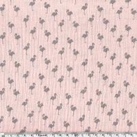 Tissu double gaze de coton imprimée flamingo coloris rose 20 x 135 cm
