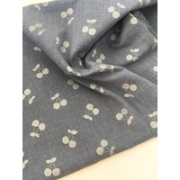 Polycoton Cherries Silver coloris Denim 20 x 140 cm