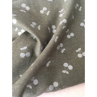 Lin/viscose Cherries Silver coloris kaki 20 x 130 cm