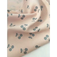 Viscose twill Cherries Silver coloris nude 20 x 140 cm