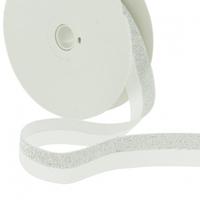 Biais élastique 20mm lurex argent blanc x10cm